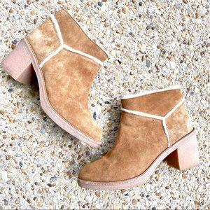 UGG Kasen Suede Shearling Chestnut Ankle Boots 9